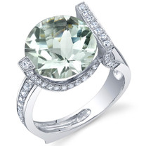 Artistic 5.00 Carats CheckerBoard Round Cut Green Amethyst Sterling Silver Ring in Sizes 5 to 9 Style SR10690