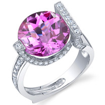 Artistic 7.00 Carats Checkerboard Round Cut Pink Sapphire Sterling Silver Ring in Sizes 5 to 9 Style SR10698