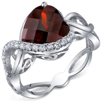 Swirl Design 4.00 Carats Heart Shape Garnet Sterling Silver Ring in Sizes 5 to 9 Style SR10700