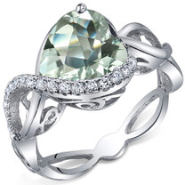 Swirl Design 3.00 Carats Heart Shape Green Amethyst Sterling Silver Ring in Sizes 5 to 9 Style SR10702