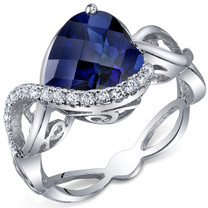 Swirl Design 4.00 Carats Heart Shape Blue Sapphire Sterling Silver Ring in Sizes 5 to 9 Style SR10710