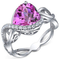 Swirl Design 4.00 Carats Heart Shape Pink Sapphire Sterling Silver Ring in Sizes 5 to 9 Style SR10716