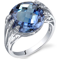 7.00 Carats Double Checkerboard Cut Alexandrite Sterling Silver Ring in Sizes 5 to 9 Style SR10720