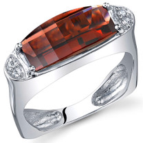 Radiant and Seductive 3.00 Carats Barrel Cut Garnet Sterling Silver Ring in Sizes 5 to 9 Style SR10726