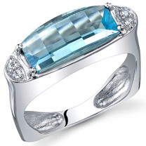 Radiant and Seductive 3.00 Carats Barrel Cut Swiss Blue Topaz Sterling Silver Ring Size 5 to 9 Style SR10728