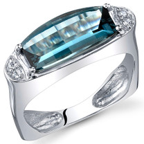 Radiant and Seductive 3.00 Carats Barrel Cut London Blue Topaz Sterling Silver Ring Size 5 to 9 Style SR10736