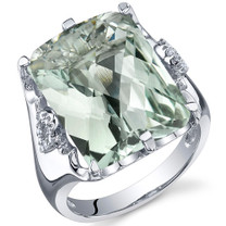 Royal Marvel 11.00 Carats Radiant Cut Green Amethyst Sterling Silver Ring in Sizes 5 to 9 Style SR10740