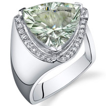 Concave Cutting 5.00 Carats Trillion Cut Green Amethyst Sterling Silver Ring in Sizes 5 to 9 Style SR10750
