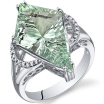 Kite Shape 6.00 Carats Green Amethyst Sterling Silver Ring in Sizes 5 to 9 Style SR10758