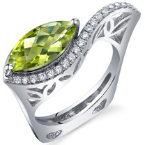 Filigree Style 2.00 Carats Marquise Cut Peridot Sterling Silver Ring in Sizes 5 to 9 Style SR10768