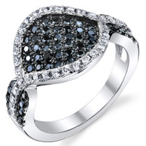 Pave Set Black and White CZ Sterling Silver Ring Available Sizes 5 to 9 Style SR10780