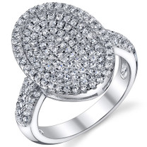 Dazzling Oval Machine Cut White CZ Sterling Silver Ring Available Sizes 5 to 9 Style SR10784