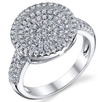 Circle Design Pave Set CZ Sterling Silver Ring Available Sizes 5 to 9 Style SR10786