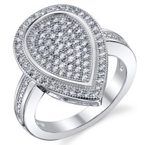 Tear Drop Design Machine Cut CZ Sterling Silver Ring Available Sizes 5 to 9 Style SR10794