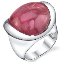 Bold and Beautiful Fuchsia Cat's Eye Sterling Silver Ring