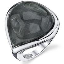 Tear Drop Gray Cat's Eye Sterling Silver Ring