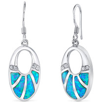Firey Blue Opal Oval Dangle Earrings in Sterling Silver  StyleSE8266