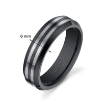 Black Striped 6mm Mens and Womens Stainless Steel Ceramic Ring in Sizes 5 to 13 Style SR10846
