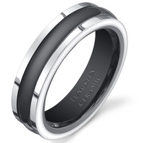 Two Tone Black Rounded Center 5mm Womens Tungsten Ceramic Ring