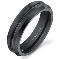 Center Groove 5mm Womens Black Tungsten Ring