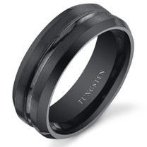 Center Groove 8mm Mens Black Tungsten Ring in Sizes 8 to 13 Style SR10856