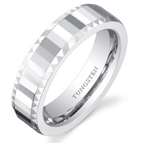Faceted Mirror Finish 5mm Womens White Tungsten Ring