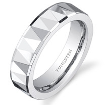 Faceted Polished Finish 5mm Womens White Tungsten Ring
