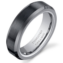 Beveled Edge Brushed Center 5mm Womens Tungsten Black Ceramic Ring