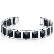 Mens Faceted Black Ceramic and Stainless Steel Bracelet Style SB4226