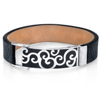 Artistic Flair Black Genuine Leather and Stainless Steel Mens Bracelet Style SB4252
