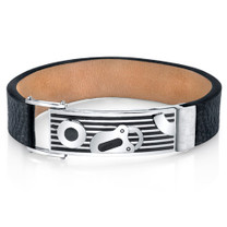Mens Padlock Design Black Genuine Leather and Stainless Steel Bracelet Style SB4256