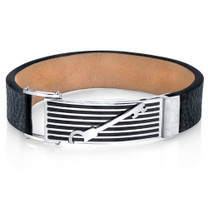 Mens Striped Key Black Genuine Leather and Stainless Steel Bracelet Style SB4258
