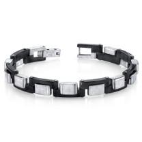 Mens Zig Zag Link Black and Brushed Stainless Steel Bracelet Style SB4278