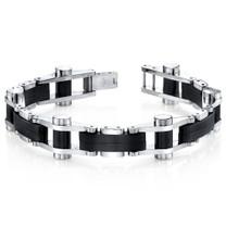 Sleek Sophistication Matte Black Mirror Finish Stainless Steel Mens Bracelet Style SB4286