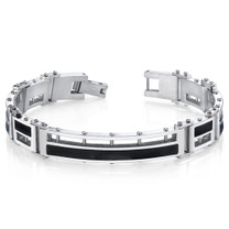 Mens Black Enamel Stylish High Polish Stainless Steel Bracelet Style SB4288