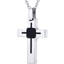 Art Deco Style Polished Finish Stainless Steel Cross Pendant With 22 inch Chain Style SN10818