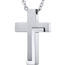 Modern Artistic Two Tone Stainless Steel Cross Pendant With 22 inch Chain Style SN10824