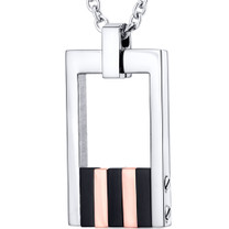 Rose Gold Stripe Polished Stainless Steel Open Dog Tag Style Pendant With 22 inch Chain Style SN10830