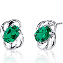 1.50 Carat Oval Shape Emerald Sterling Silver Earrings Style SE8220