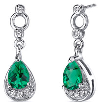 Simply Classy 1.00 Carats Emerald Dangle Earrings in Sterling Silver Style SE8222
