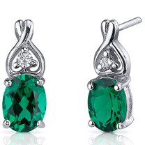 Classy Style 2.00 Carats Emerald Oval Cut Earrings in Sterling Silver Style SE8228