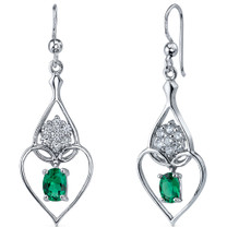 Illuminating Hearts 1.50 Carats Emerald Oval Cut Dangle Earrings in Sterling Silver Style SE8230