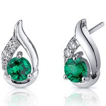 Radiant Teardrop 1.00 Carats Emerald Round Cut Earrings in Sterling Silver Style SE8232