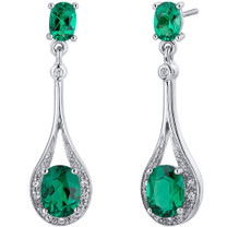 Glamorous 3.50 Carats Emerald Oval Cut Dangle Earrings in Sterling Silver  Style SE8238
