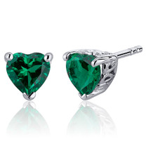 1.50 Carats Emerald Heart Shape Stud Earrings in Sterling Silver  Style SE8242