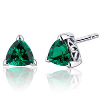 1.50 Carats Emerald Trillion Cut V Prong Stud Earrings in Sterling Silver  Style SE8244