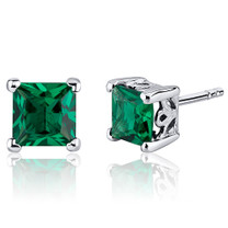 2.00 Carats Emerald Princess Cut Scroll Design Stud Earrings in Sterling Silver  Style SE8246