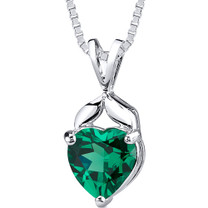 3.00 cts Heart Shape Emerald Pendant in Sterling Silver Style SP10736