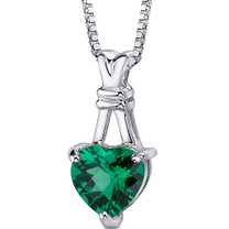 Passionate Pledge: Sterling Silver Heart Shape Emerald Pendant with 18 inch Chain Style SP10738