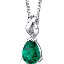 Mysterious Allure: Sterling Silver Pear Shape Emearld Pendant with 18 inch Chain Style SP10740